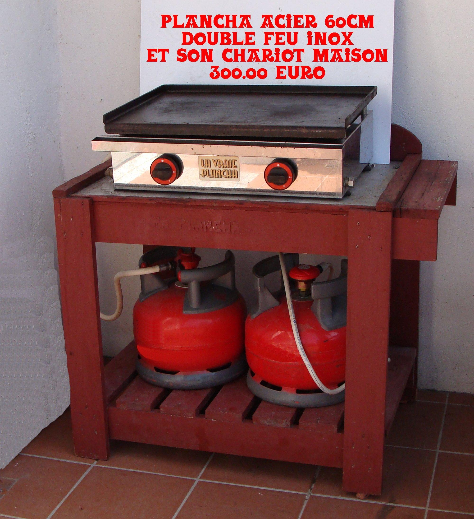 Vendre plancha acier 60cmx40cm avec chariot vente objet vide grenier destockage promo - Bouteille de gaz pour plancha ...
